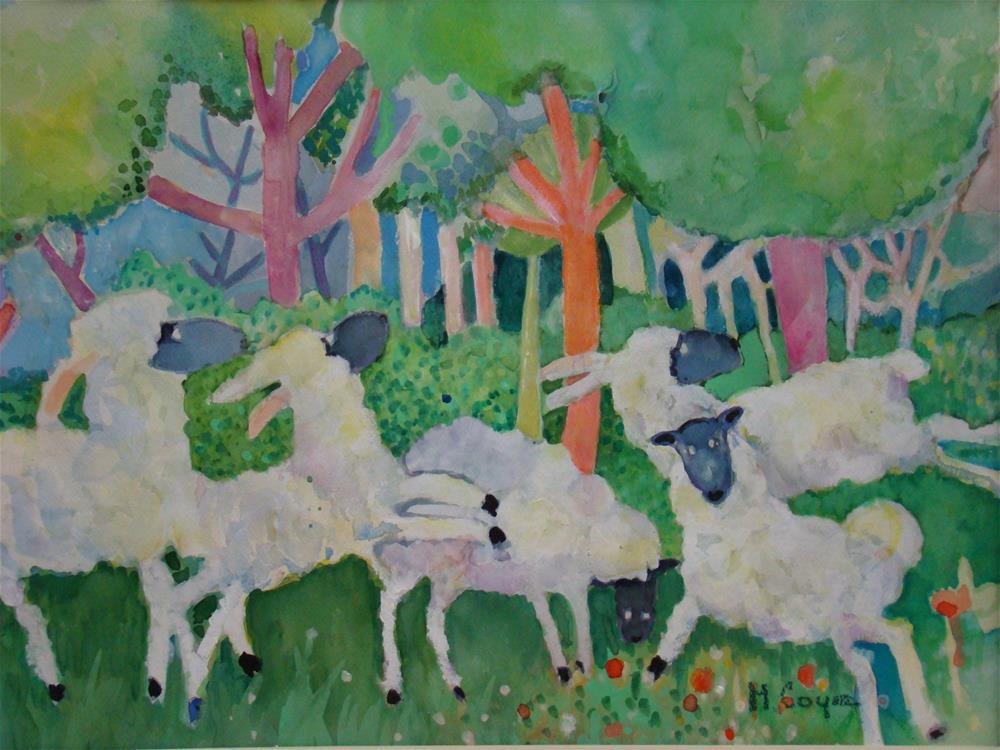 """counting sheep"" original fine art by meribeth coyne"