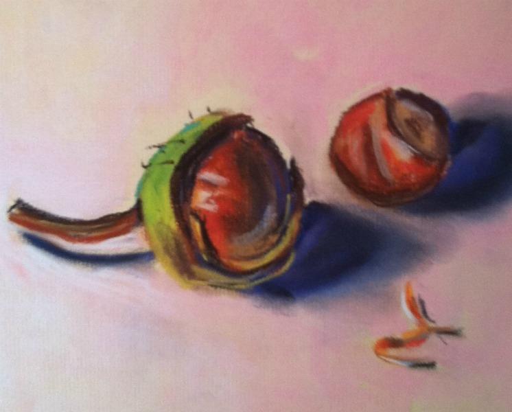 """Chestnuts, soft pastel, 6x 7.5"" original fine art by Darlene Young"