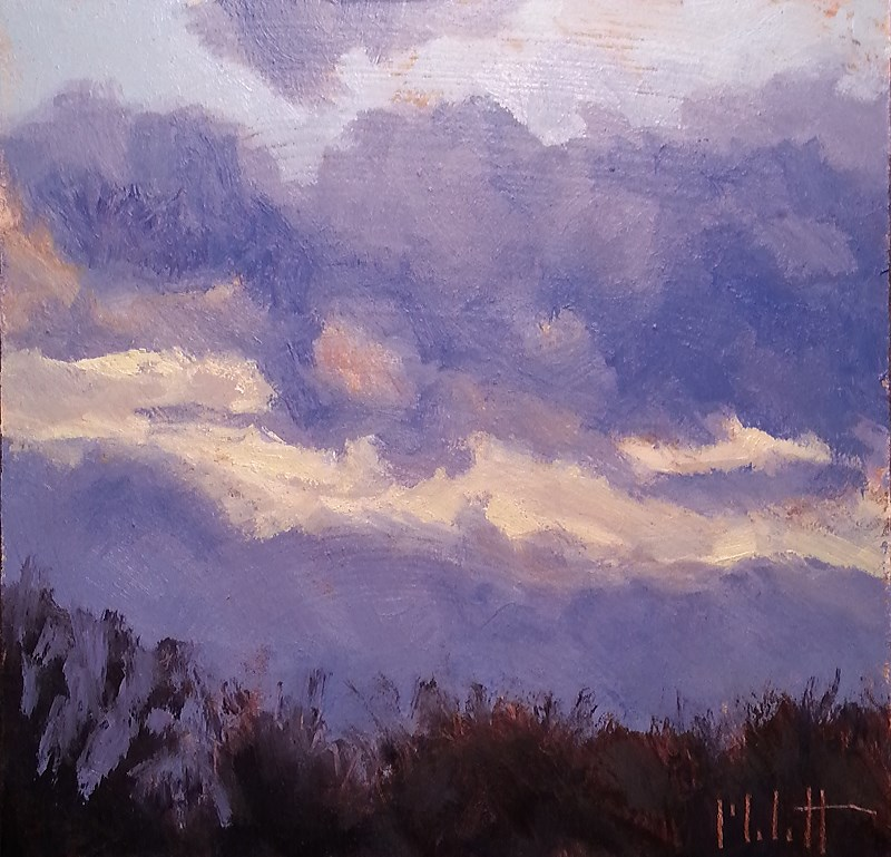 """Contemporary Impressionism Original Daily Oil Painting November Sky Series"" original fine art by Heidi Malott"