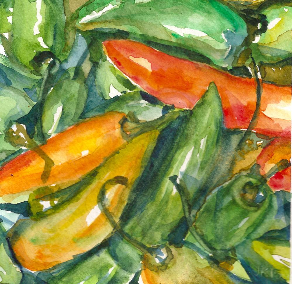 """Jalapenos"" original fine art by Jean Krueger"