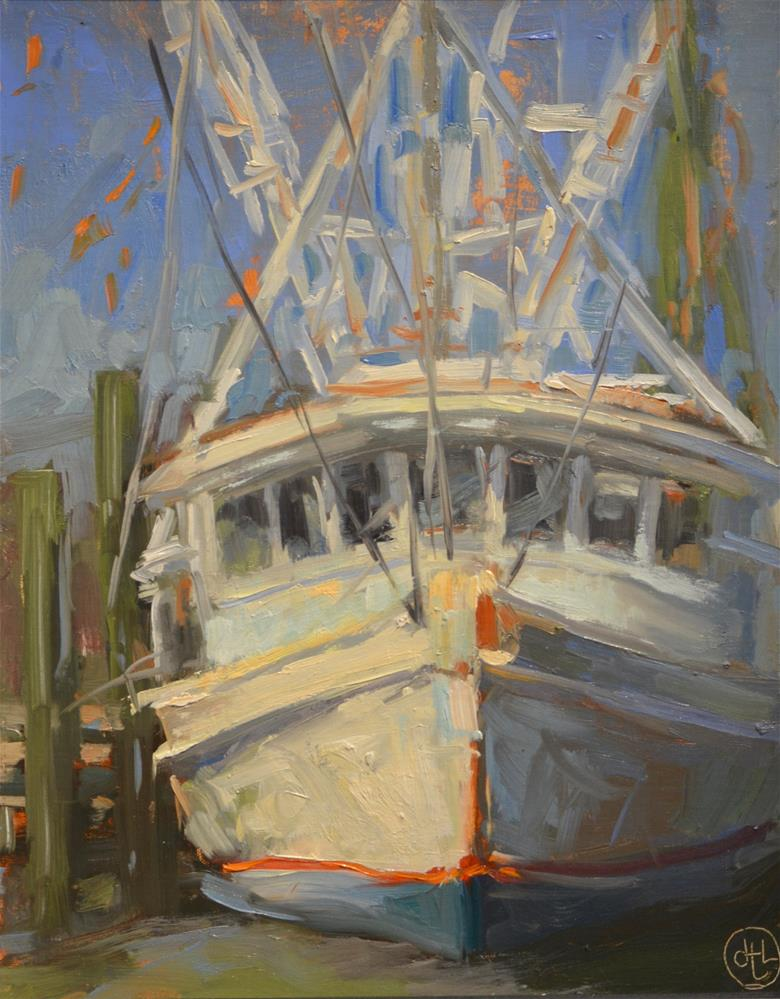 """shrimper at dawn"" original fine art by Dottie  T  Leatherwood"