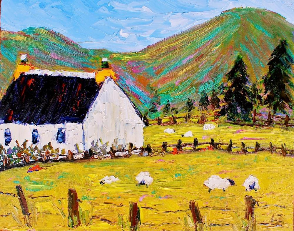 """Grazing Sheep"" original fine art by Liz Zornes"