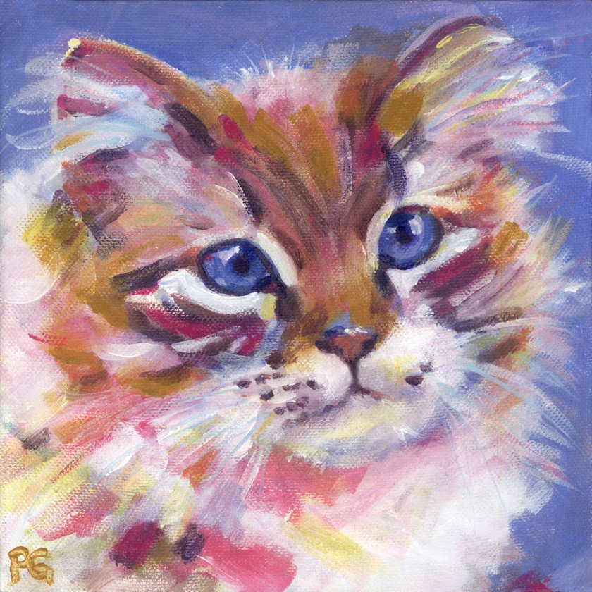 """Kolorful Kitten"" original fine art by Pamela Gatens"