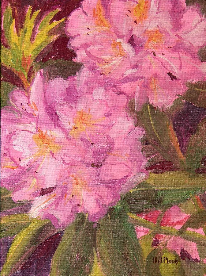 """Pink Rhodies"" original fine art by Mary McInnis"