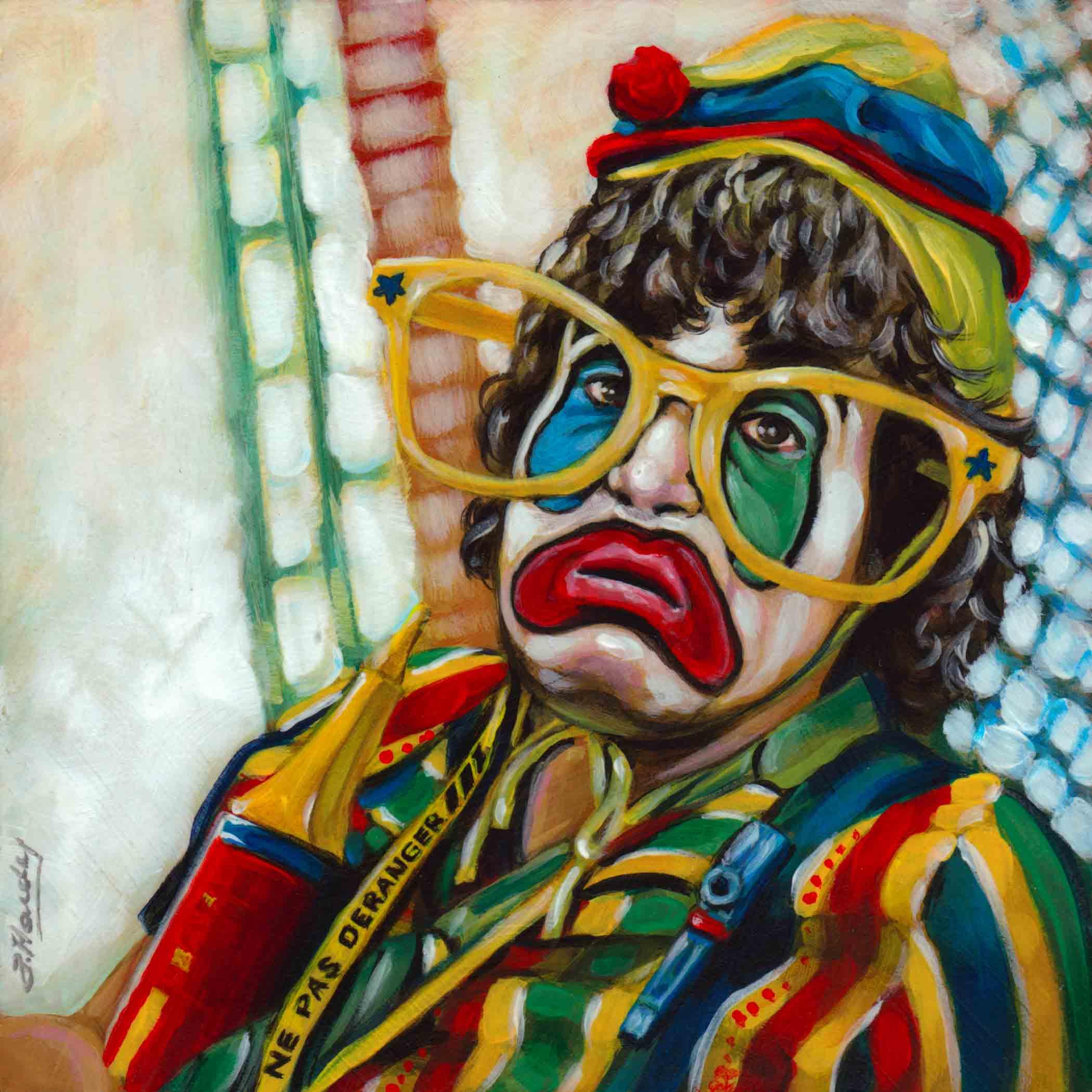 """At Arms Length#34, Patmoll the Clown"" original fine art by Angela Hardy"