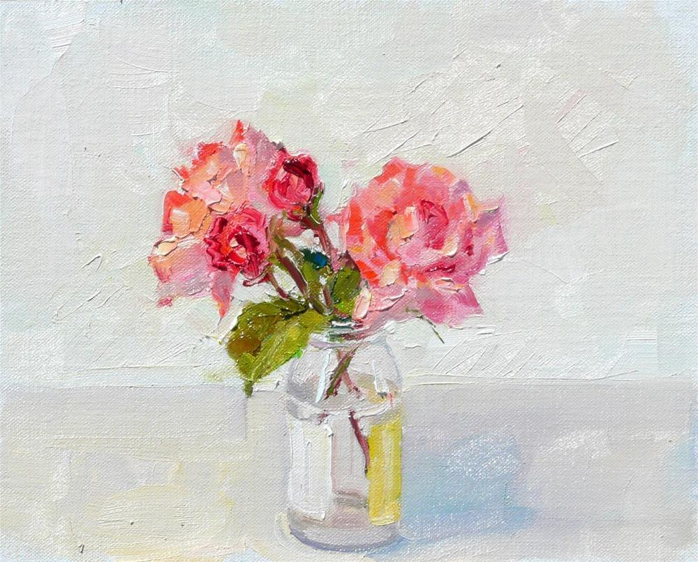 """Two Buds and Two Blooms in a Jar,Still life,oil on linen panel,8x10,price$225"" original fine art by Joy Olney"