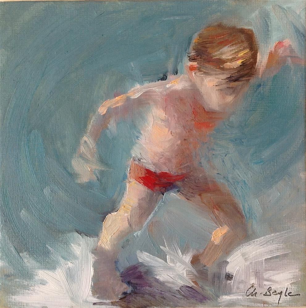 """Running in the waves"" original fine art by Christine Bayle"