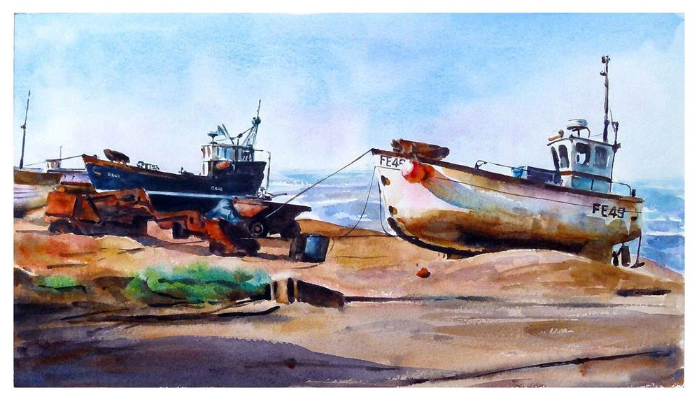 """Boats on Hastings beach."" original fine art by Graham Berry"