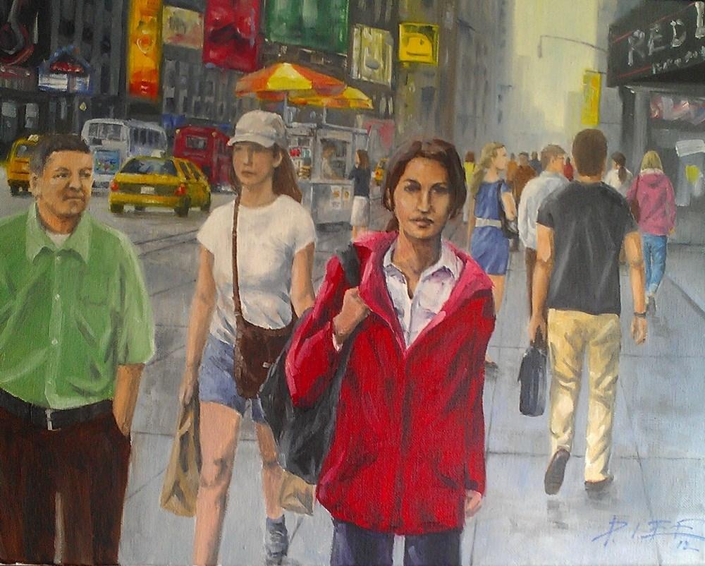 """woman in red"" original fine art by Peter Lee"