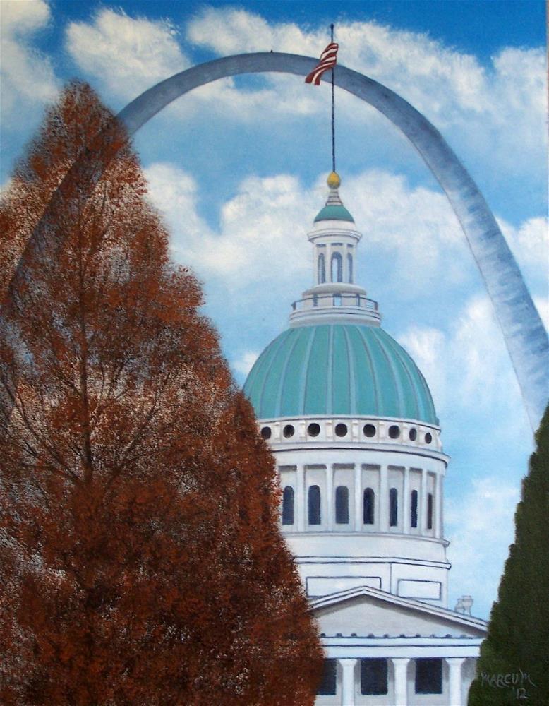 """St. Louis Arch by Day"" original fine art by John Marcum"
