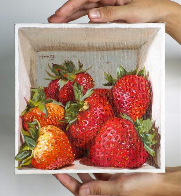 """Strawberries in a box"" original fine art by Haze Long"