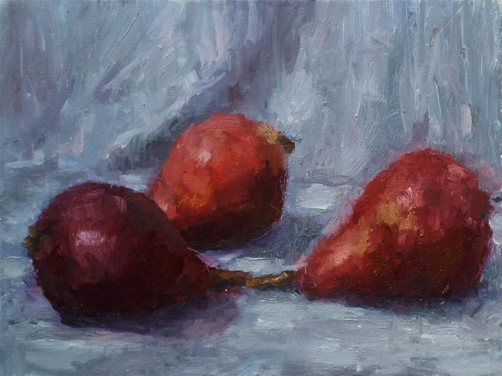 """Three red pears still life"" original fine art by Aleksandra Uzarek"