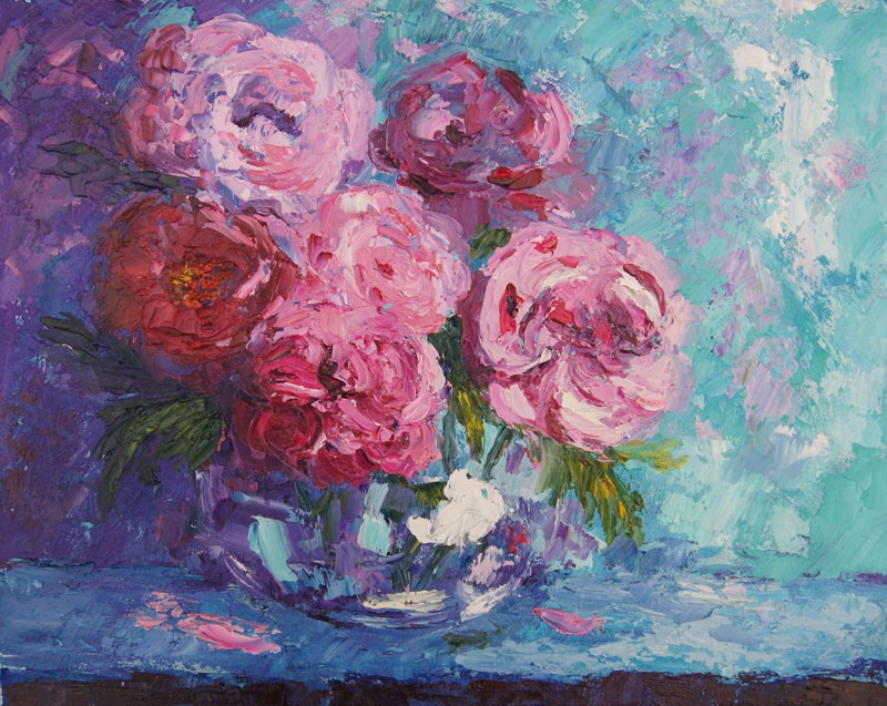 """Old Fashioned - Roses still life palette knife painting"" original fine art by Marion Hedger"