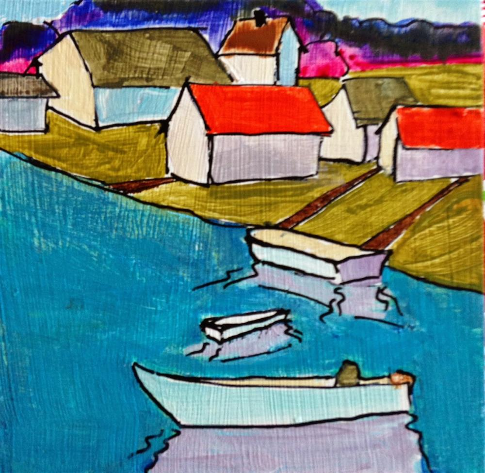 """Fish Town, 4x4 Inch Acrylic Painting by Kelley MacDonald"" original fine art by Kelley MacDonald"