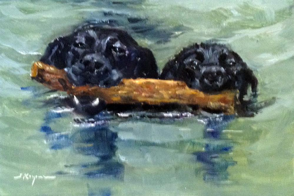 """Two on a Log"" original fine art by Shelley Koopmann"