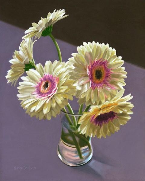 """Five Gerbera Daisies"" original fine art by Nance Danforth"
