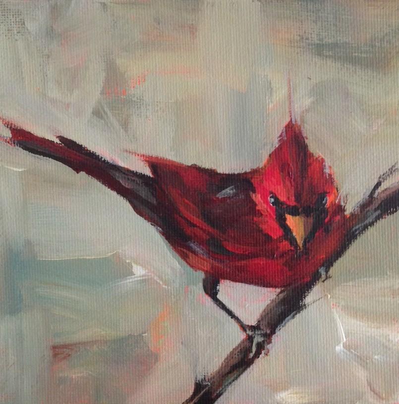 """Cardinal"" original fine art by Shannon Bauer"