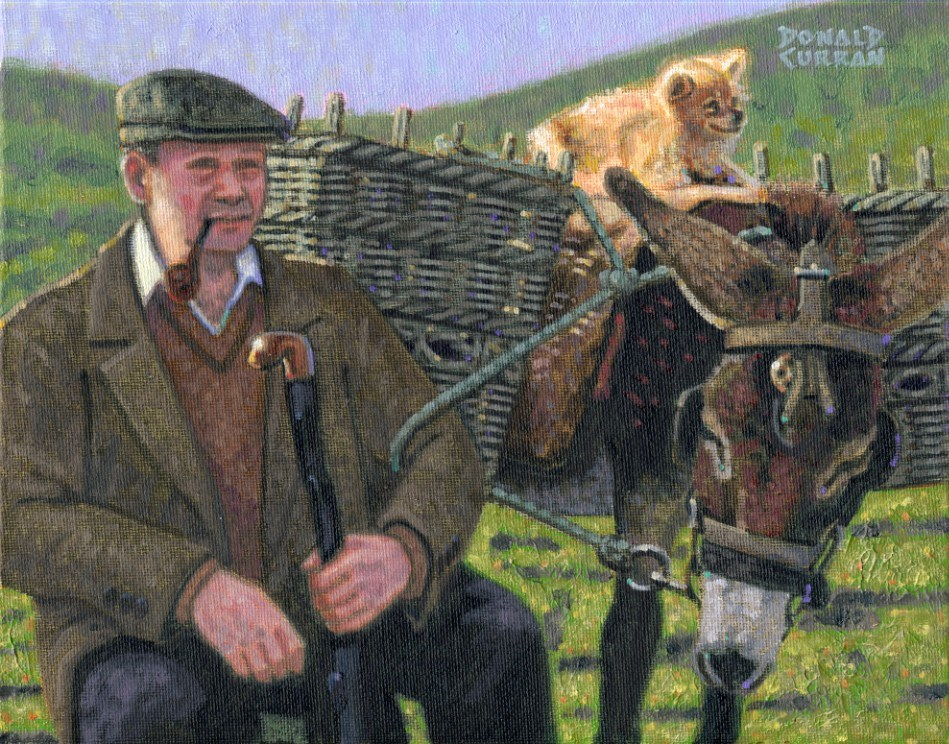 """Irish Man and Friends"" original fine art by Donald Curran"