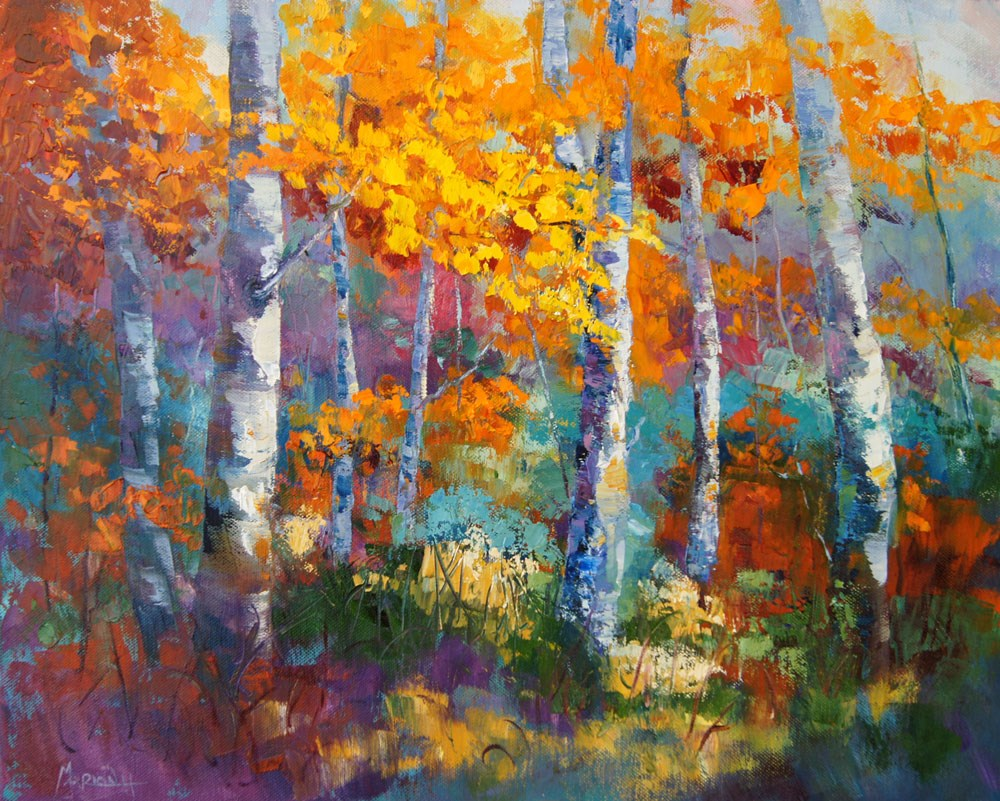 """Autumn Colours Impressionist painting"" original fine art by Marion Hedger"