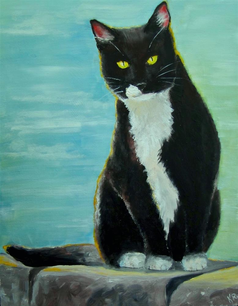 """Cat on the sea wall"" original fine art by Karen Robinson"