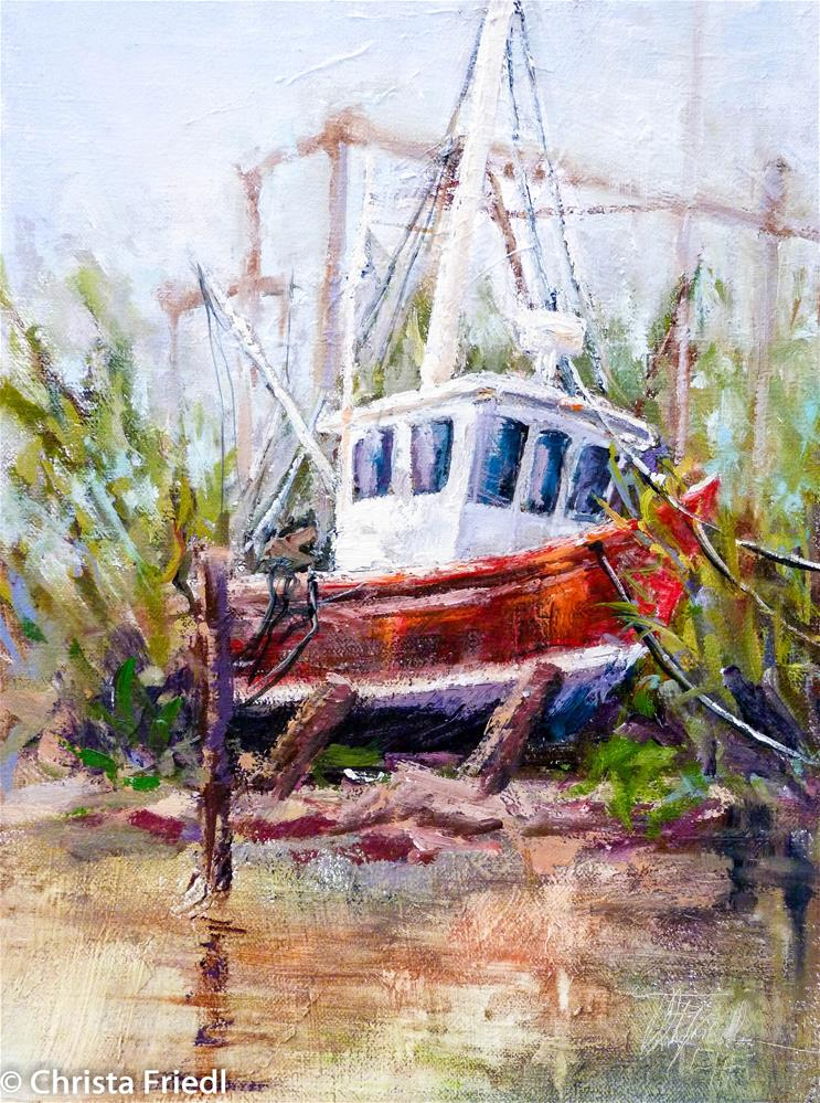 """Red boat at the Do it Yourself Marina"" original fine art by Christa Friedl"