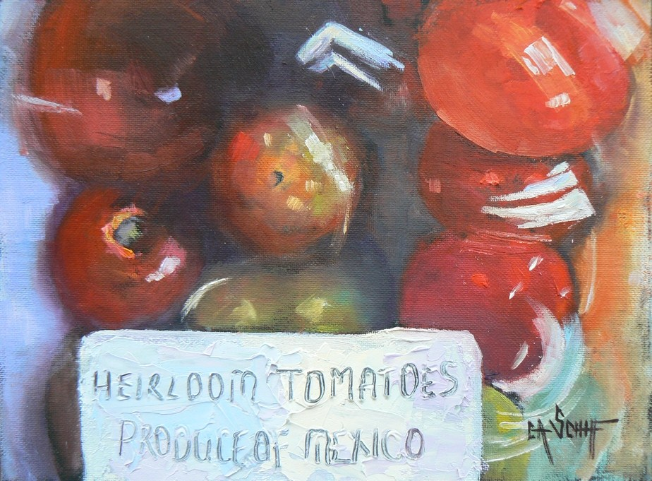 """Daily Painting, Food, Produce of Mexico, 6x8"" original fine art by Carol Schiff"