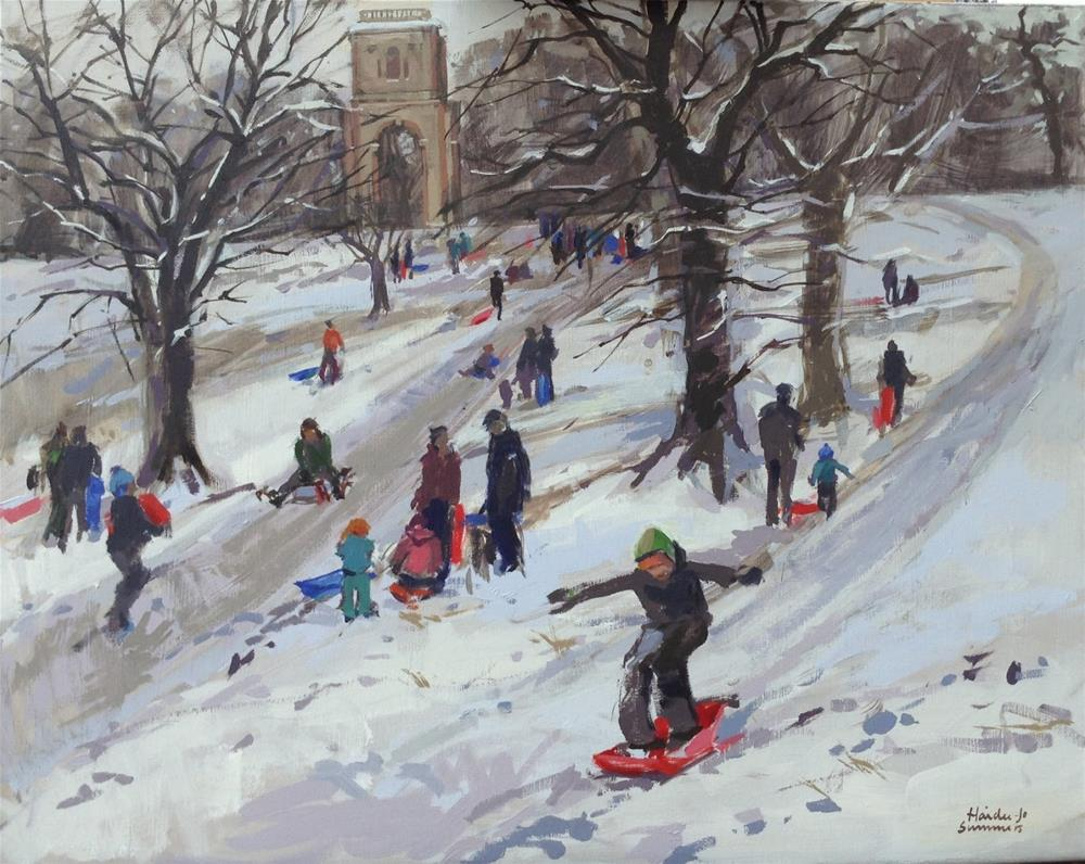 """Sledging at Belmont tower"" original fine art by Haidee-Jo Summers"