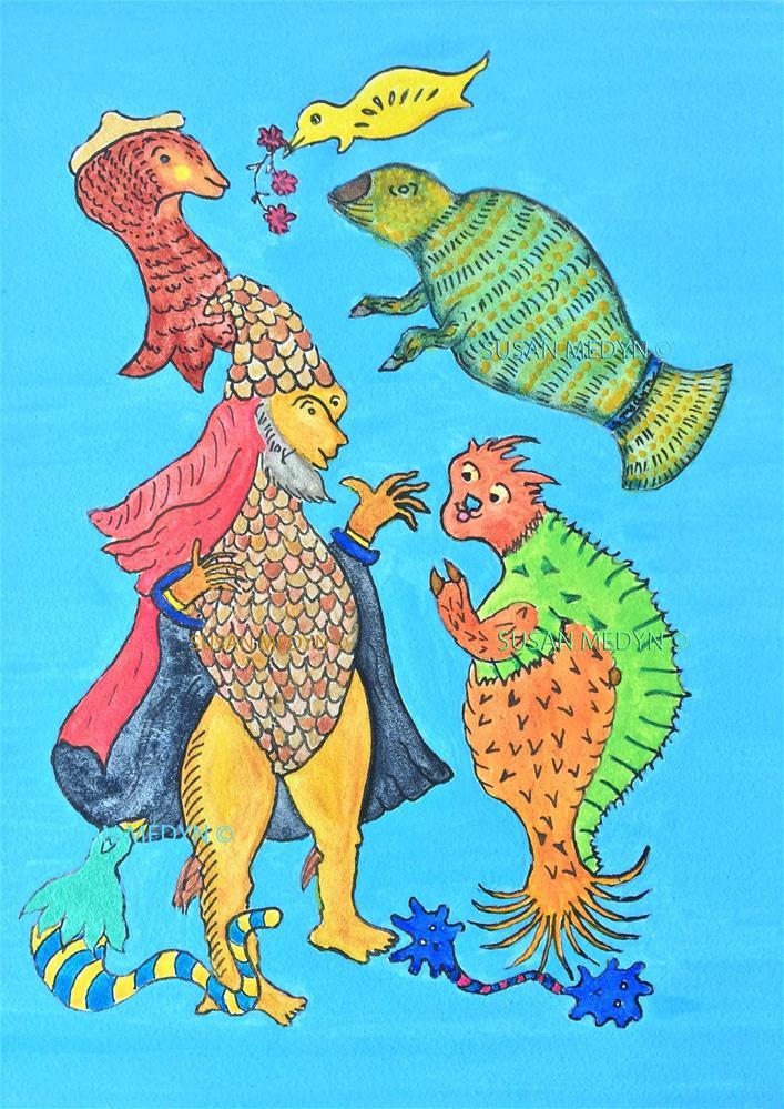 """""""Neptune's Tale"""" original fine art by Susan Medyn"""