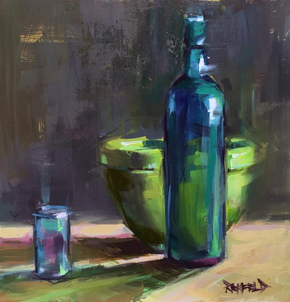"""""""Green and Turquoise"""" original fine art by Cathleen Rehfeld"""