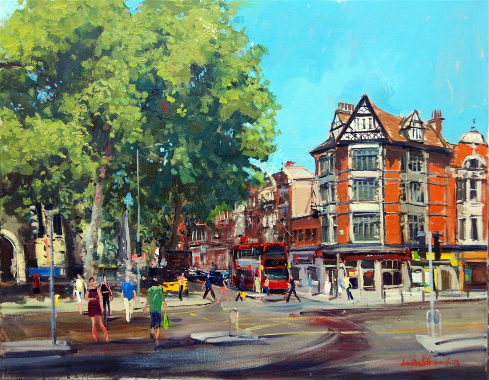 """The Buzz of Kensington Church Street"" original fine art by Adebanji Alade"