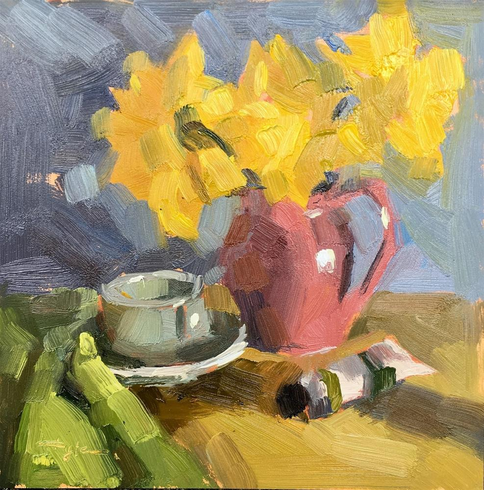 """Daffodils in a Pink Pitcher"" original fine art by Katia Kyte"