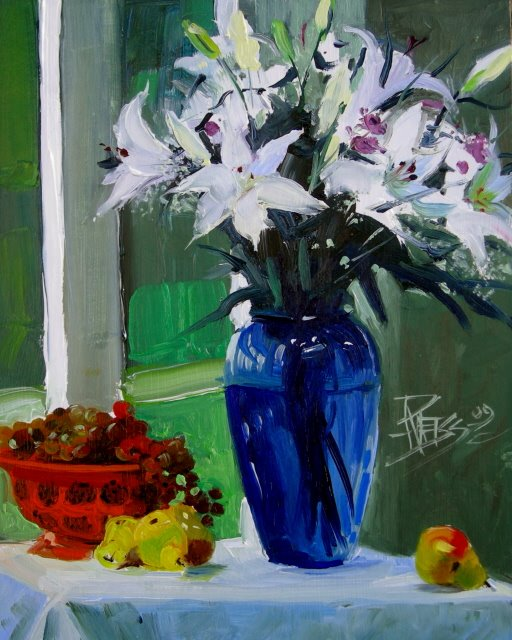 """Lilies   floral oil painting"" original fine art by Robin Weiss"
