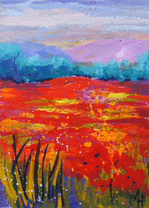 """ACEO art trading card Poppy Meadow 1"" original fine art by Marion Hedger"