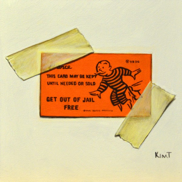 """Get Out of Jail Free"" original fine art by Kim Testone"