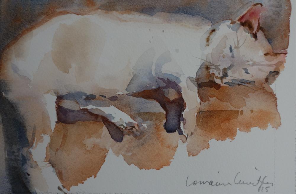 """Sleepy Cat"" original fine art by Lorraine Lewitzka"