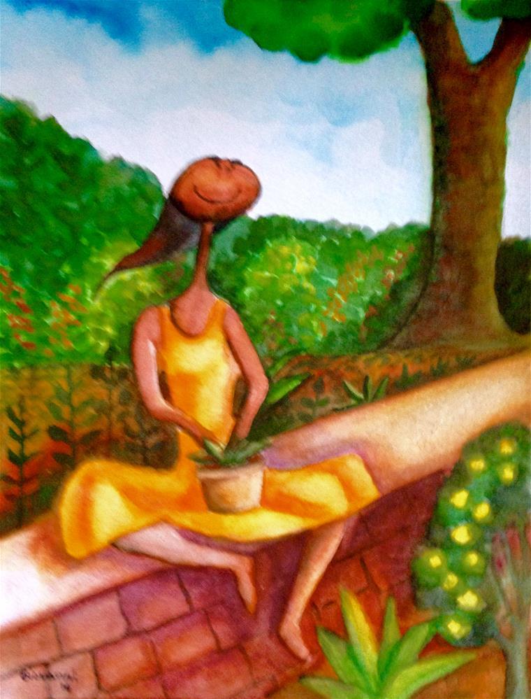 """Enjoying the garden"" original fine art by Giovanni Antunez"