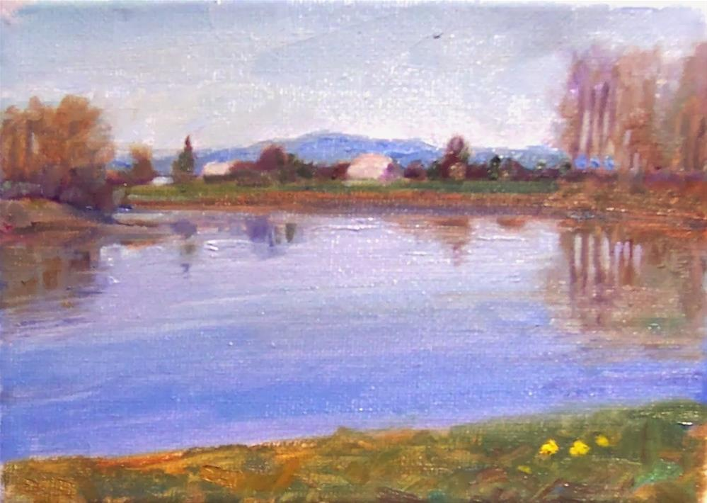"""Skagit River,landscape,oil on canvas,5x7,price$200"" original fine art by Joy Olney"