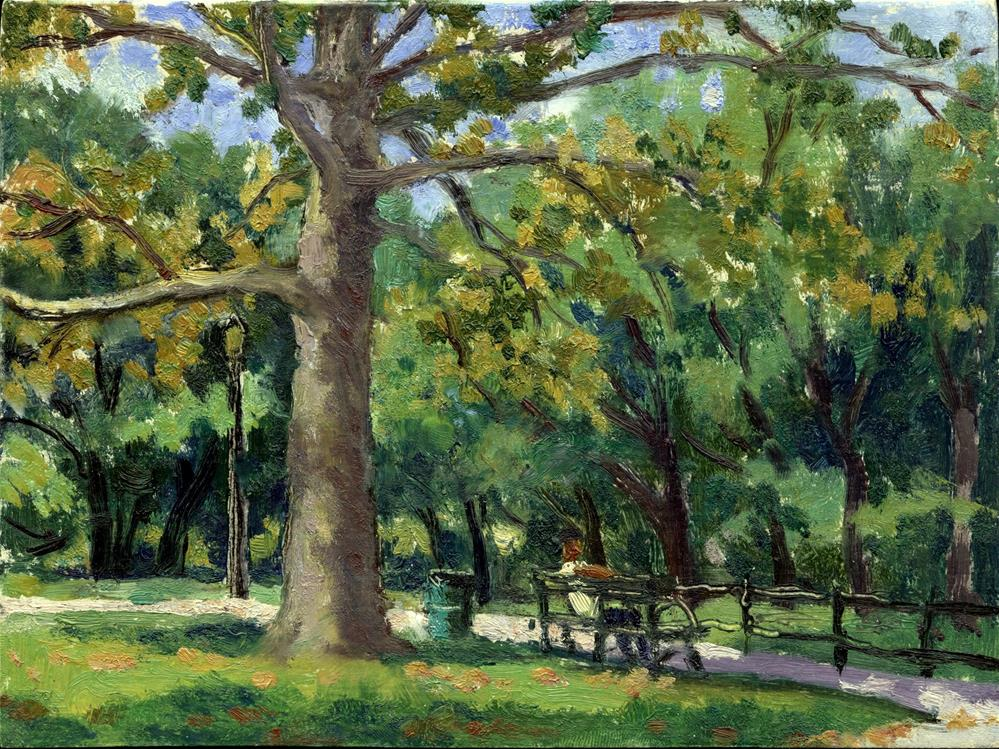 """September Shade, Isham Park, NYC"" original fine art by Thor Wickstrom"