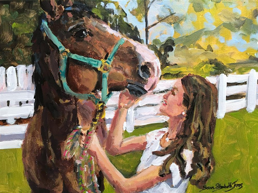 """Foster and Suki on Trotwood"" original fine art by Susan Elizabeth Jones"