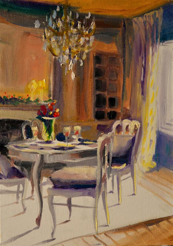 """FRENCH DINING ROOM"" original fine art by Cecilia Rosslee"