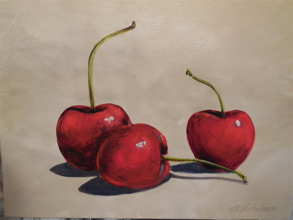"""Trio of Cherries"" original fine art by Terri Nicholson"