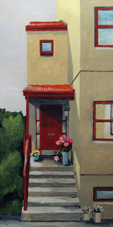 """Red Awning"" original fine art by Nan Johnson"