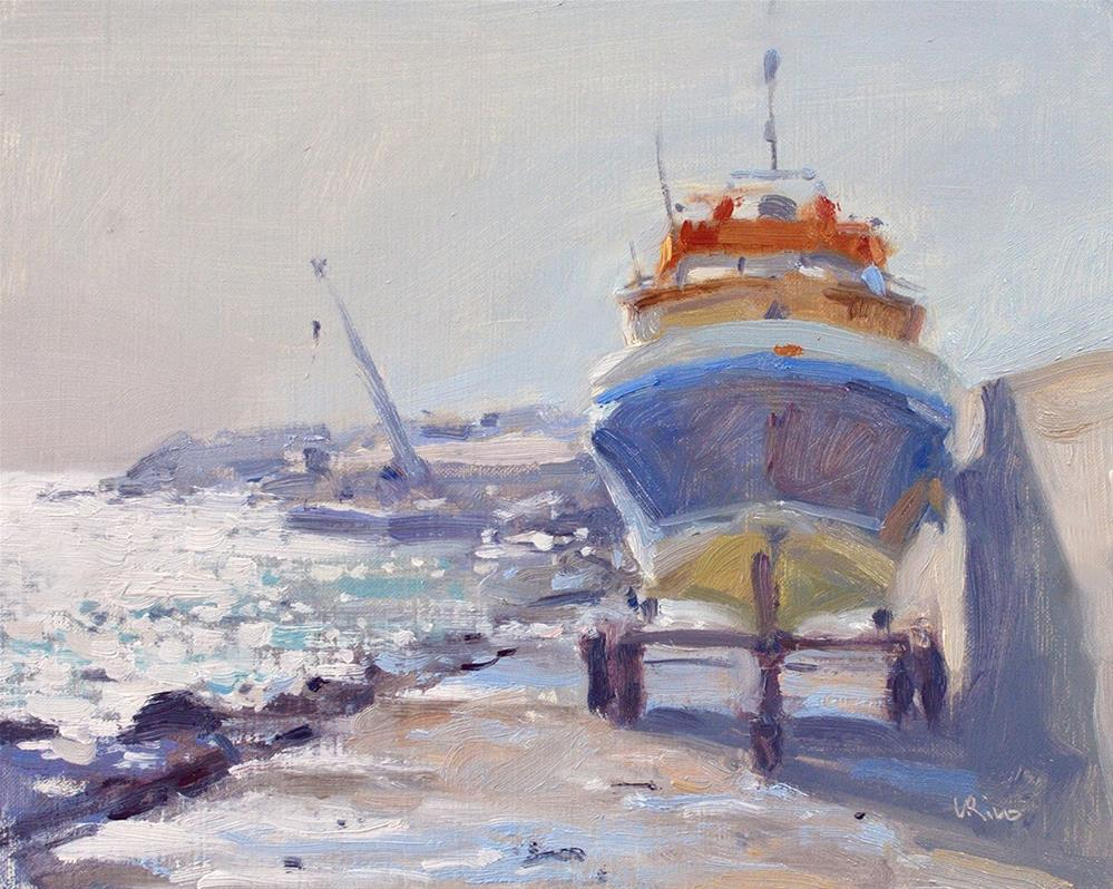 """""""Morning at the Fishing Port - Ericeira"""" original fine art by Lena  Rivo"""