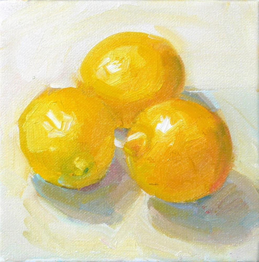 """Summer Lemons,still life,oil on canvas,6x6,price$200"" original fine art by Joy Olney"