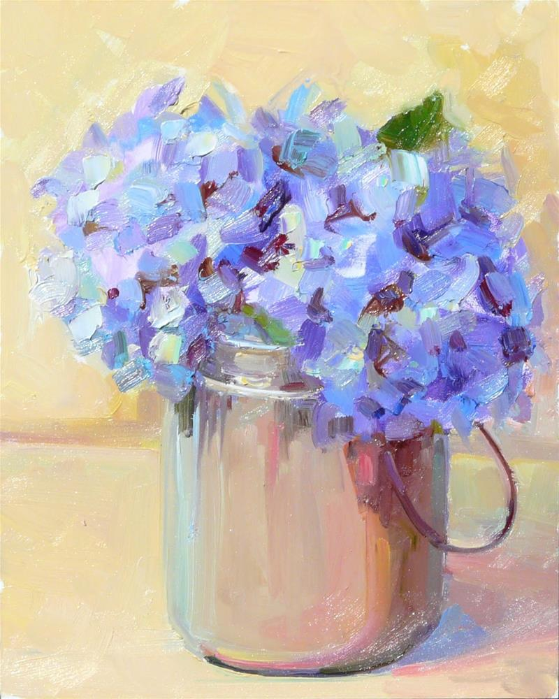 """Hydrangea Pail,still life,oil on panel,10x8,price$200"" original fine art by Joy Olney"