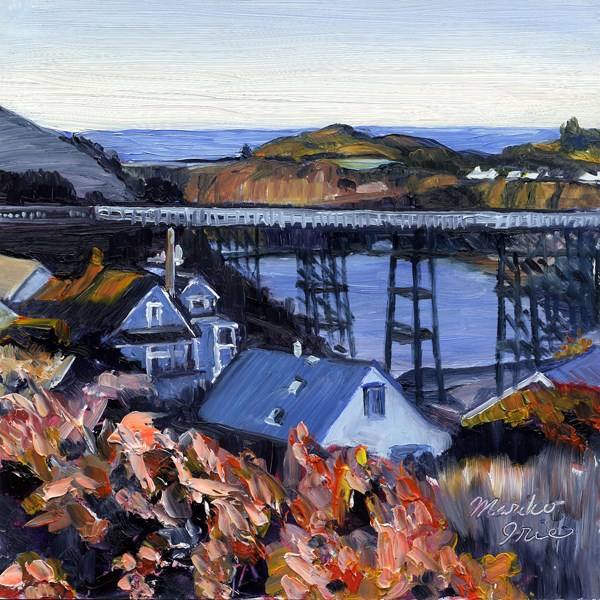 """Albion River Bridge"" original fine art by Mariko Irie"