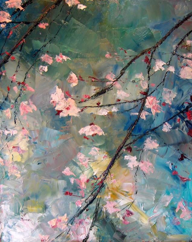 """Pink Blossoms"" original fine art by Nava Judith"