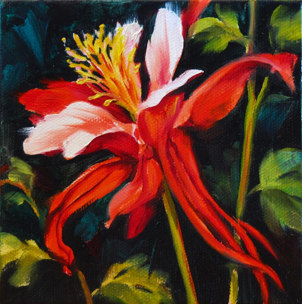 """Moonlit Columbine"" original fine art by Mary  Van Deman"