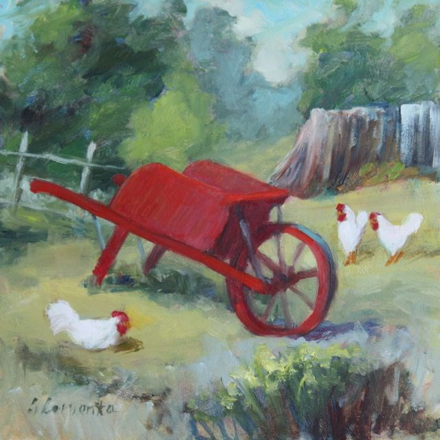 """Yard Birds: Chickens in the Farm Yard"" original fine art by Sue Cervenka"
