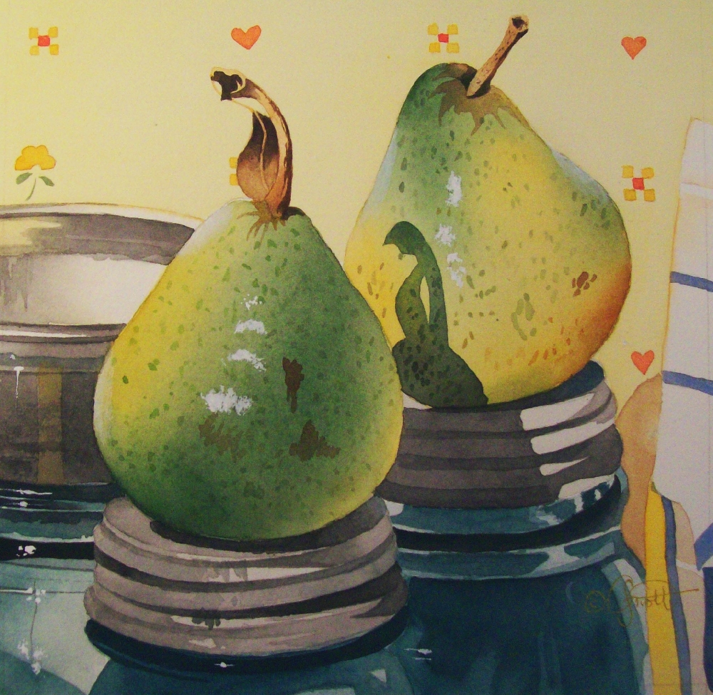 """Canning Pears"" original fine art by Jacqueline Gnott, TWSA, WHS"